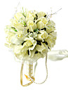 Elegant Light Yellow Round Wedding Bouquet/ Bridal Bouquet With Chiffon Beads Decoration