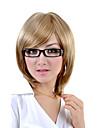 Capless medellång syntetiskt ljusblond rakt hår peruk