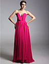 Prom / Military Ball / Formal Evening Dress - Fuchsia Plus Sizes / Petite Sheath/Column V-neck / Strapless Floor-length Chiffon