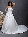Lanting A-line/Princess Plus Sizes Wedding Dress - Ivory Chapel Train Strapless Satin