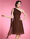 Lanting A-line Plus Sizes / Petite Mother of the Bride Dress - Brown Knee-length / Watteau Train Sleeveless Chiffon