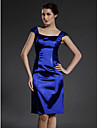 Sheath/Column Plus Sizes / Petite Mother of the Bride Dress - Royal Blue Knee-length Sleeveless Stretch Satin