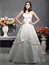 Lanting sposa a-line / principessa petite / più dimensioni spalline abito da sposa-pavimento-lunghezza raso / tulle