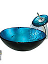 Blue Round Tempered glass Vessel Sink With Waterfall Faucet, Mounting Ring and Water Drain(0888-C-BLY-6438-WF)