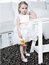 Ball Gown Knee-length Flower Girl Dress - Satin/Organza Sleeveless