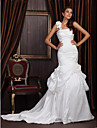 Lanting Trumpet/Mermaid One Shoulder Chapel Train Satin Taffeta Wedding Dress With 3D Floral