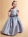 Vestido de baile com uma linha de princesa Comprimento do chão Vestido de garota de flores - tafetá pescoço quadrado sem manga por lan ting bride®