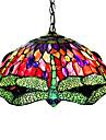 Tiffany stil guldsmed farvet glas pendel med 2 lamper