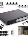 8ch tout-en-un kit de vidéosurveillance + 8pcs blanche 24led caméra dôme + 1000 Go HDD