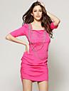 ts manchon chaude moitié rose agrémentée robe de soirée décolleté