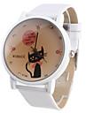 Ceas de Damă Model Pisică din Desene Animate cu Brățară Albă A139