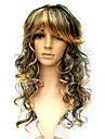 capless synthétique à longue perruque noire mixte partie d'or costume