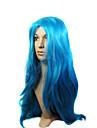 capless synthétique de haute qualité à long bleu perruque fête costumée
