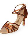 Chaussures de danse (Marron) - Non personnalisable - Talon aiguille - Satin - Danse latine/Salle de bal