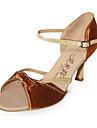 satin / konstläder övre peep toe högklackade dansskor balsal latinska skor för kvinnor