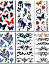 6 pcs papillon et rose mélangés tatouage temporaire