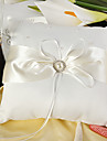 Eternity Wedding Ring Pillow In Ivory Satin With Faux Pearl