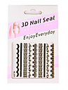 6 stickers nail art style français blanc / noir / broche en dentelle k