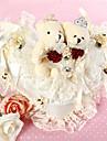 auzi pernă inel în formă de satin fildeș și dantelă cu ursul cuplu