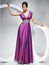 Prom / Military Ball / Formal Evening Dress - Lilac Plus Sizes / Petite Sheath/Column V-neck Floor-length Chiffon