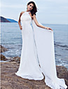 Lanting Bride Sheath/Column Petite / Plus Sizes Wedding Dress-Sweep/Brush Train Halter Chiffon