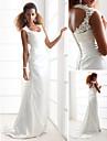 Lanting Sheath/Column Petite / Plus Sizes Wedding Dress - Ivory Sweep/Brush Train Scoop Charmeuse