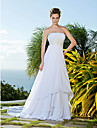 Lanting Bride Sheath/Column Plus Sizes / Petite Wedding Dress-Chapel Train Strapless