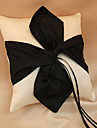 White And Black Ring Pillow In Satin With Ribbons And Sash