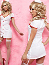 hot girl polyester blanc infirmière costume coupe-bas (2 pièces)