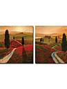 HANDMÅLAD Landskap Två paneler Kanvas Hang målad oljemålning For Hem-dekoration
