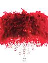 krystal vedhæng lys med 3 lyser rødt fjer skygge