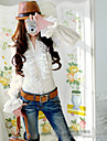 Women's Solid White Blouse/Shirt Long Sleeve Ruffle