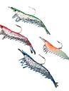 """4 st Mjukt bete Lock förpackningar Fiskbete Lock förpackningar Mjukt bete Räka Grön Orange Rosa Blå g Uns mm/2-3/8"""" tum,SilikonSjöfiske"""