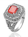 superba 18k placat cu aur pătrat roșu de cristal inel de moda