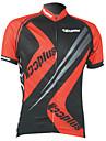 kooplus Maillot Cyclisme Vélo Homme manches courtes Maillot 100% polyester des hommes en noir et rouge respirant