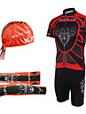 KOOPLUS® Cykeltröja med Bib-shorts Herr Kort ärm Cykel Andningsfunktion / Snabb tork / Ultraviolet Resistant / Dragkedja framArm Warmers
