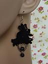 rose noire en dentelle gothique lolita boucles d'oreilles