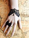 handgjorda svart spets retrostil klassiska lolita armband med rosett ring set
