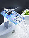 Sprinkle® Sink Faucets LED / Waterfall / Centerset with Chrome Single Handle One Hole