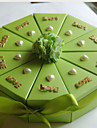 Green Card Paper Wedding Favor Boxes With Hearts (Set of 10)