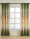 Två paneler Fönster Behandling Rustik , Löv Living Room Polyester Material gardiner draperier Hem-dekoration For Fönster