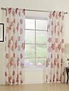 land två paneler blom- botaniska röd sovrum polyester rena gardiner shades