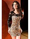sexy leopard dantelă rochie cu mâneci lungi (lungime: 68cmbust :86-102waist :58-79hips :90-104)