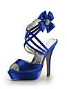 plate-forme de talon aiguille en satin avec des souliers de satin femmes fleurs de mariage parti