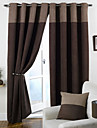 Two Panels Modern Solid Brown Bedroom Polyester Panel Curtains Drapes