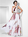 TS Couture Prom / Formal Evening Dress - Print Plus Sizes / Petite Sheath/Column One Shoulder Floor-length Chiffon