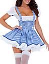 Adult Cosplay Femmes Sexy Maid Slim Souhaitez-Blue Dress Costume (2 pièces)