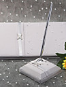 Platinum Satin Wedding Guest Book and Pen Set Sign In Book
