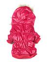 Chien Manteaux Pulls à capuche Rouge Rose Vêtements pour Chien Hiver Couleur Pleine Garder au chaud Coupe-vent