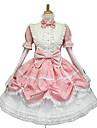 långärmad puffärm knälång rosa vit söt lolita klänning med söt rosett